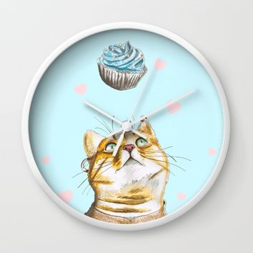 Cat Lover Cake Wall Clock by lostanaw