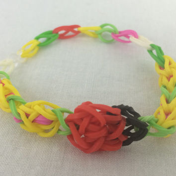 Ladybug Bracelet Made out of Rainbow Loom Handmade Rubber Bands