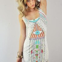 Mara Hoffman Egyptian Eye Lattice Back Mini Dress