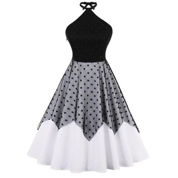 Lace Panel Polka Dot Halter Dress