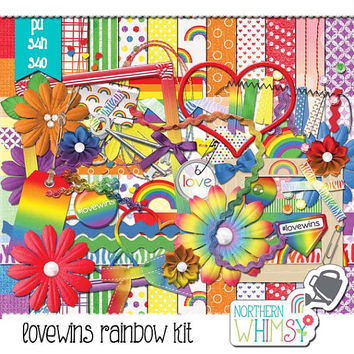 "Digital Scrapbooking Kit - #lovewins - LGBT Pride Rainbow Scrapbook Kit - Rainbow Gay Pride Scrapbook Kit ""Love Wins"" - PU / S4H / S4O"