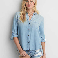 AEO Boyfriend Denim Tencel Shirt, Medium Wash