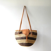 Vintage Hand Tooled Leather Jute Basket Market Purse. Large Shoulder Purse. Bucket Bag.