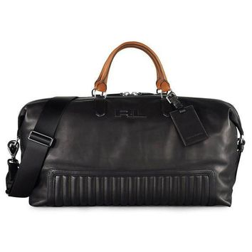 Tan Handle Leather Duffle Bag by Ralph Lauren