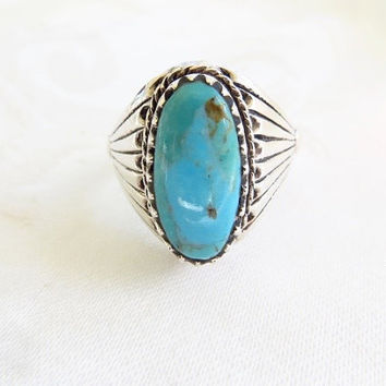 Navajo Men's Ring Turquoise Sterling Silver Size 14