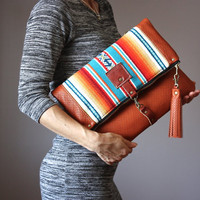 Large Leather fold over clutch, Indian blanket  fold over bag, fold over purse, wool fabric & leather clutch, leather tassel, cowhide clutch