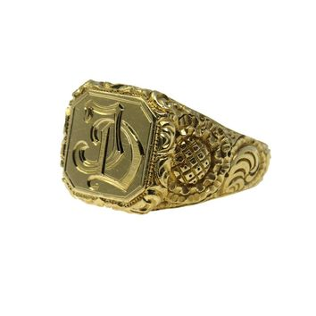 Men's Victorian Signet Ring 14k Gold Exquisitely Carved, Victorian, 1830s to 1900s