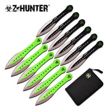 Z Hunter Throwing Knife 12 Pcs Set 6 Inches Black And Green Blade