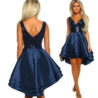 Stain High Low Sequins A-line Party Dress