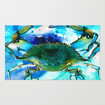 Blue Crab - Abstract Seafood Painting Rug by Sharon Cummings