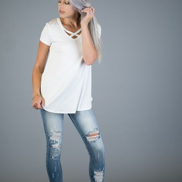 Short Sleeve Criss Cross Top in Ivory