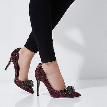 Dark red glitter rhinestone bow pumps - Shoes - Shoes & Boots - women