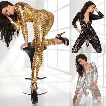 Women's Black Gold Silve Sexy Shiny Leather Latex Jumpsuit - Free Shipping