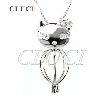 CLUCI fashion women jewelry Kitty Cat cage pendant 925 sterling silver Necklace pendant charm animal Locket pearl pendant