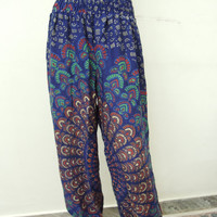 Blue Harem Trouser Baggy Genie Alibaba Aladdin Pants Trouser Jumpsuit Boho Hippie Yoga Pant India Printed Pant
