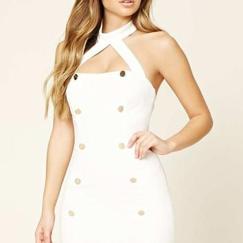 Buttoned Mock Neck Halter Dress