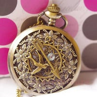 On Sell-Steampunk Retro Carve Hunger Games Mockingjay Pocket Watch Necklace Chain D051