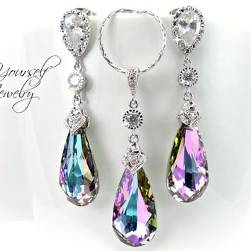 Wedding Jewelry Vitrail Light Bridal Earrings Bride Necklace Lilac Lavender Swarovski  Crystal Teardrop Jewelry Pink Purple c47470b2d