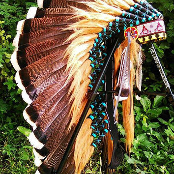 CHRISTMAS SALE Turkey Feathers Headdress, Native American Headpiece, Indian Warbonnet, Chief Indian Hat,  Steam punk, Nocturnal, Wonderland