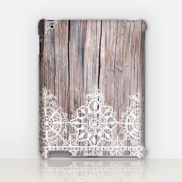 Lace-Wood iPad Case For - iPad 2, iPad 3, iPad 4 and iPad Mini, Fine Art Hard Case