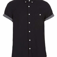 BLACK STARS CONTRAST SHORT SLEEVE SHIRT - Men's Shirts - Clothing