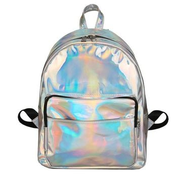 Laser Color Funny Backpacks Bright Stylish Double Shoulder Bags Girls Chic Travel Bags