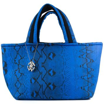 Roberto Cavalli Womens Blue Snake Printed Large Flat Strap Shopper Tote