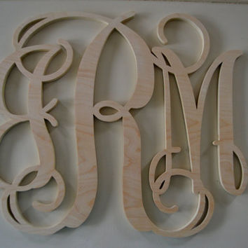 18 Inch Wooden Monogram Initials - 3 Letters