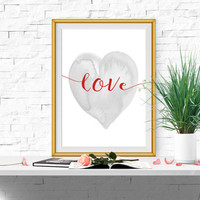 Heart print Red and gray Wall art Valentines decor Love printable Nursery heart Watercolor heart art Love print DOWNLOAD 11x14, 5x7, 8x10