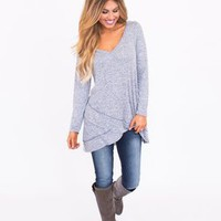 Long Sleeve Heathered V Neck - Blue