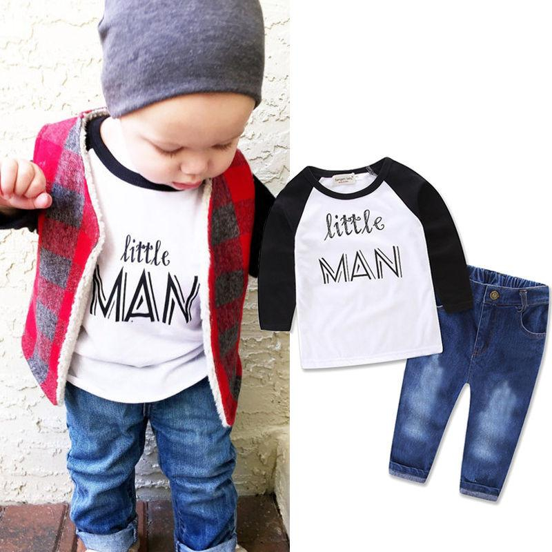 Newborn Baby Boys Little Man Jumpsuit Romper Pants Tracksuit Outfits Clothes Set