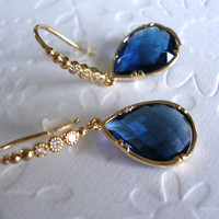 Preppy Dangle earrings /Blue sapphire earrings/ Christmas Gift For Her / Bridesmaids gifts / Sapphire glass teardrop earrings