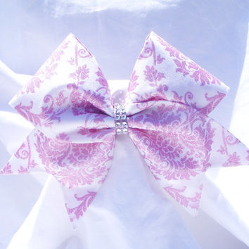 Cheer bow- All fabric sewn Cream with pink glitter pattern,Cheerleading bow-Cheerleader bow- dance bow- softball bow- cheerbow