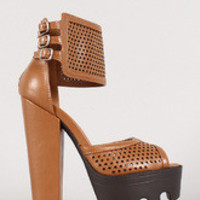 Women's Ankle Cuff Perforated Peep Toe Platform Heel