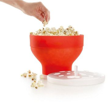 New Arrival 1Piece Microwaveable Popcorn Maker Pop Corn Bowl With Lid Microwave Safe Kitchen Bakingwares DIY Popcorn Bucket