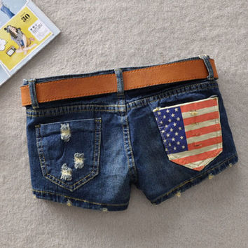 Juice Action Womens Jeans Denim Shorts American Flag Low Waisted Shorts Pants