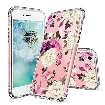 iPhone 6 Case, iPhone 6s Cover, MOSNOVO Floral Flower Blossom Pattern Printed Clear Design Transparent Plastic Hard Back Case with Soft TPU Bumper Protective Case Cover for iPhone 6 6s (4.7 Inch)
