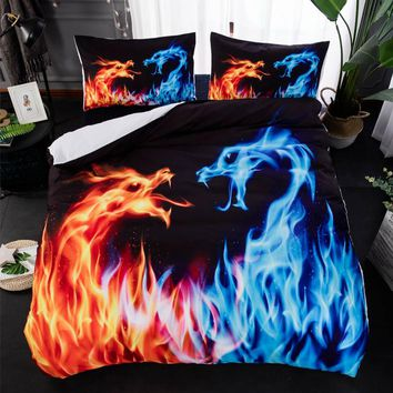 3D Dragon Print Bed Linen Bedding Sets Comforter Bed Cover Quilt Galaxy Duvet Cover Queen King Size Bedding Double Bed Sheets