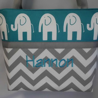CHEVRON  in Gray   .. Ele ELEPHANT   ...  ToTE ...  Diaper Bag ... Monogrammed  FReE .. You Choose Color
