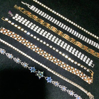 Wholesale Lot Rhinestone Tennis Bracelets, 8 Pieces, Link Style,  Mid Century Jewelry Collection, Costume Jewellery 618m
