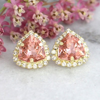 Blush Earrings, Blush Swarovski Earrings, Gift For her, Peach Earrings, Bridesmaids Earrings, Blush Pink Stud Earrings, Christmas Gift