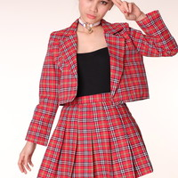 Glitters For Dinner — Made To Order - As If Blazer and Pleated Skirt set in Red Tartan