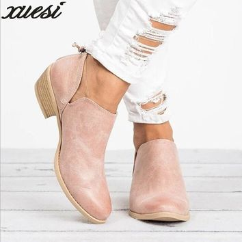 2018 Spring Autumn Women Butterfly-knot Chelsea Boots Slip-on Med High Heels Pointed Toe Shoes Woman Sexy Pumps Wedding Shoes