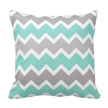 Aqua Blue and Gray Grey Chevron Throw Pillow