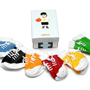 JOHNNY'S INFANT SOCKS - SET OF 6 | Colorful Children's Socks That Look Like Sneakers, For Boys | UncommonGoods