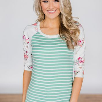 Skull & Stripes 3/4 Sleeve Top - Mint