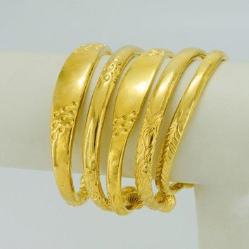CREYIJ6 Anniyo Embossing Hard Bangle for Women,Trendy Wedding Gifts Gold Color and Copper Jewelry #002910