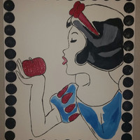 "Hand painted wood framed canvas 16""x20"" - Snow White"