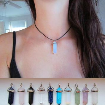 natural crystal point pendant necklace real black leather choker bullet necklace handmade gypsy boho jewelry gift box  number 1