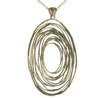 High Fashion Italian Sterling Silver with Yellow Gold Overlay Large Oval Shape Cut Out Design Pendant!